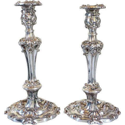 Large Pair of English Victorian Rococo Revival Silverplate Repousse Candlesticks