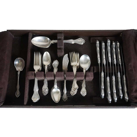 Vintage American Westmorland Sterling Silver George & Martha Washington Pattern Flatware (56 pcs.)