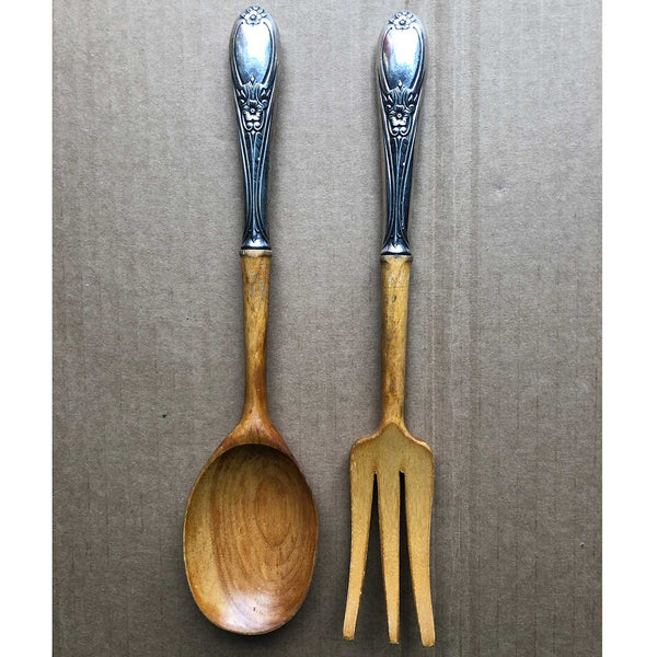 Two-Piece Vintage American Frank M. Whiting Sterling Silver and Wood Colonial Rose Salad Servers