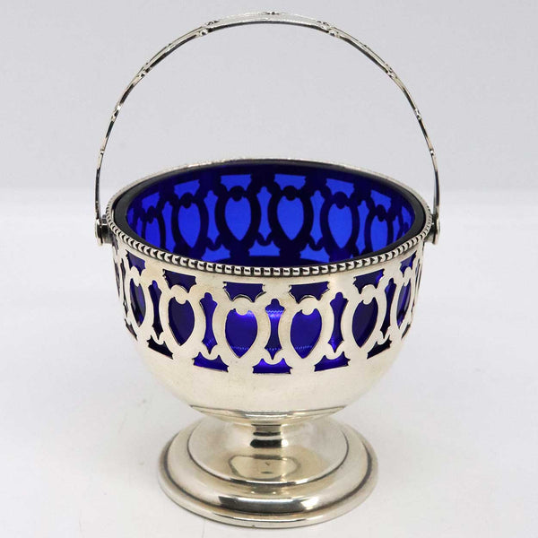 American Dominick & Haff for J. E. Caldwell Sterling Silver and Cobalt Glass Sugar Basket