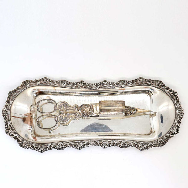 English Victorian John Gilbert & Sons Silverplate Candle Wick Trimmer and Snuffer Tray