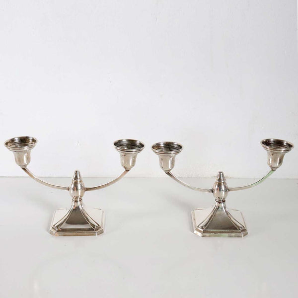 Pair of Vintage American Elgin Silver Company Sterling Silver Two-Arm Candelabra