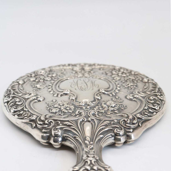 American Gorham Sterling Silver Repousse Buttercup Pattern Vanity Hand Mirror