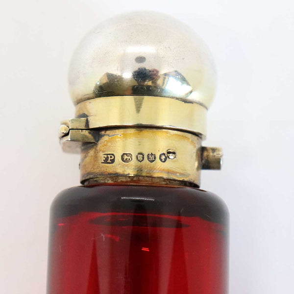 English Frederic Purnell Victorian Gilt Sterling Silver and Bristol Ruby Glass Double-Ended Perfume Bottle
