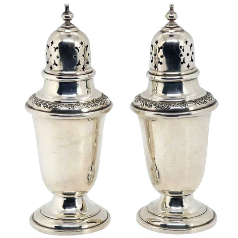 Pair of Vintage American Gorham Sterling Silver Buttercup Salt and Pepper Shakers
