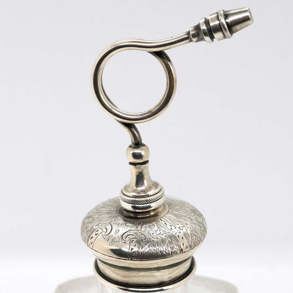 American Sterling Silver, Cut and Pressed Glass Perfume Atomizer Bottle