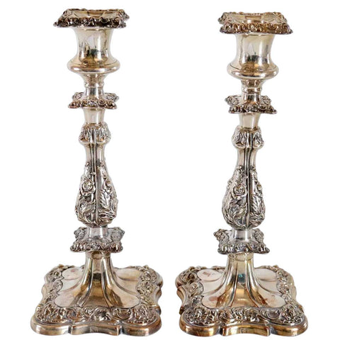 Pair of English Ellis-Barker Silverplate Candlesticks