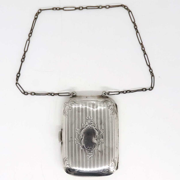 American Sterling Silver Calling Card / Dance Card Purse on Chain
