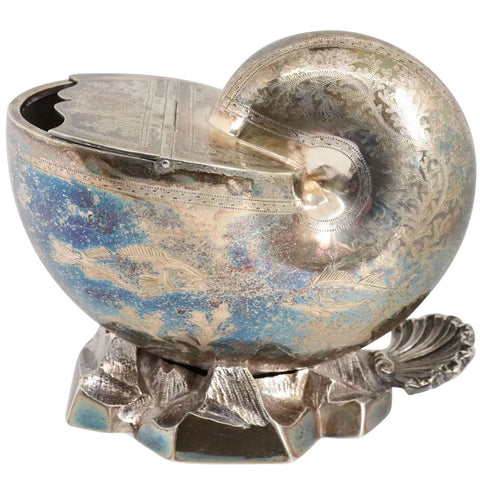 English Mappin & Webb Victorian Engraved Silverplate Nautilus Spoon Warmer