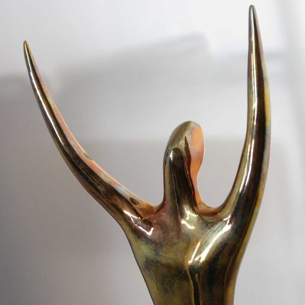 EDGAR BRITTON Polished Bronze Statue, Man in Space