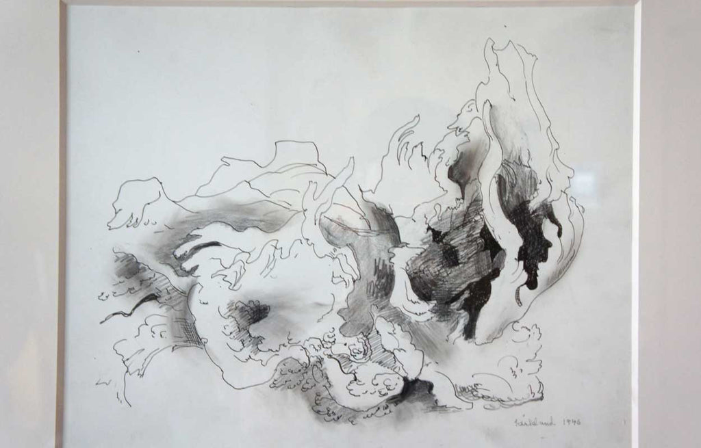 Vance hall kirkland mixed media on paper of rock and root forms a rocky mountain abstraction