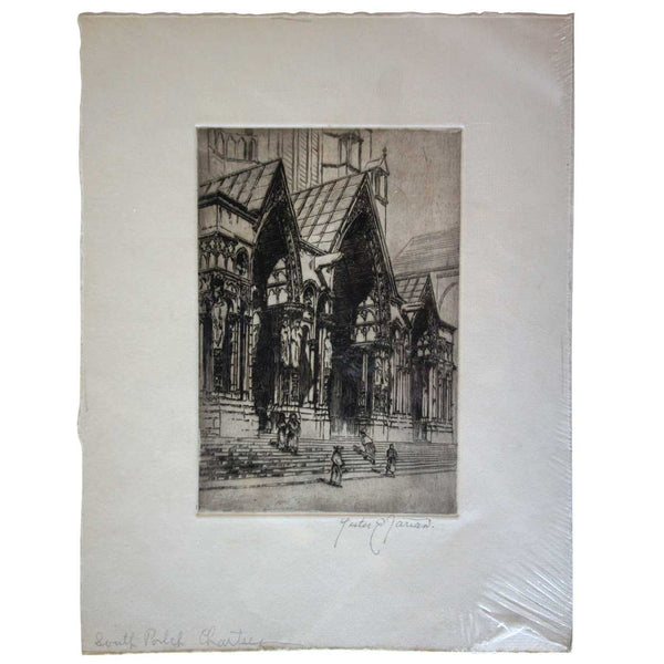 LESTER E. VARIAN Etching, South Porch, Chartres Cathedral, France
