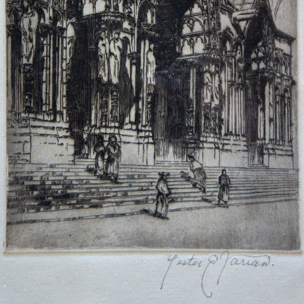 LESTER E. VARIAN Etching, South Porch, Chartres Cathedral