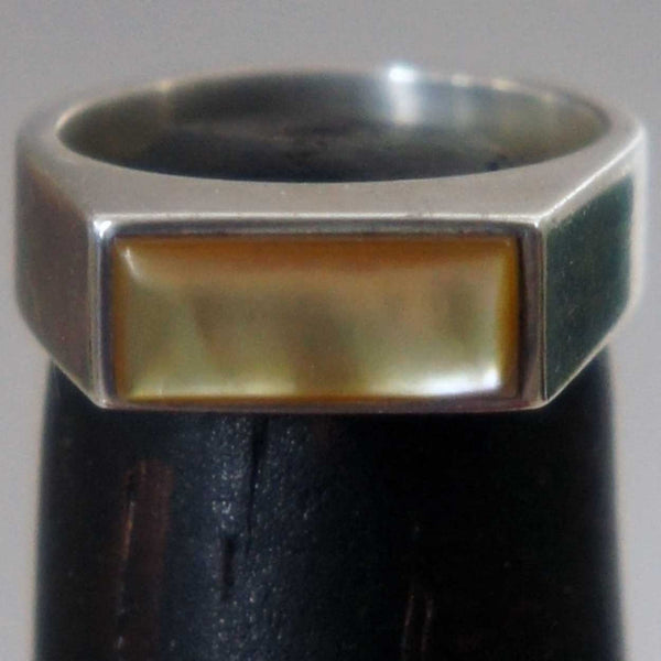 Vintage Stone Inlaid Silver Ring