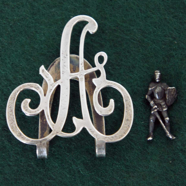 American Apollo Art Nouveau Sterling Silver Monogram A Napkin Clip and Knight Tie Tack
