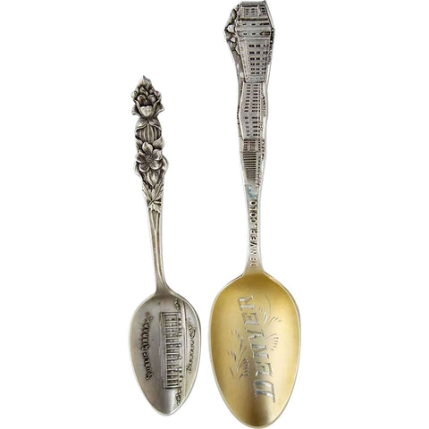 Two American Denver Sterling Silver Library Building Souvenir Spoons