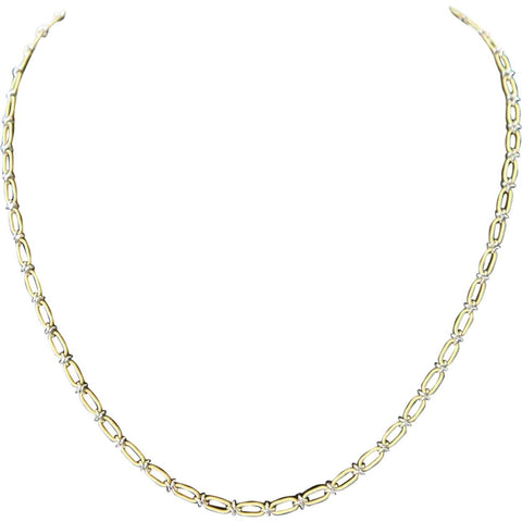 Vintage Italian 18k Yellow and White Gold Chain Necklace