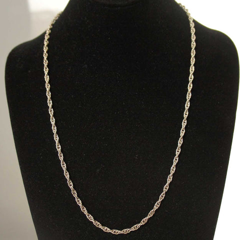 Vintage Long Sterling Silver Rope Twist Chain Necklace
