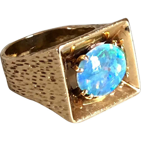 Vintage Hammered 14k Gold and Opal Triplet Cabochon Ring