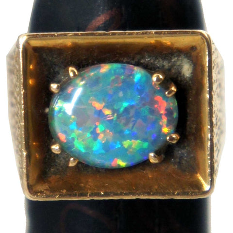 Vintage 14k Hammered Gold and Opal Ring
