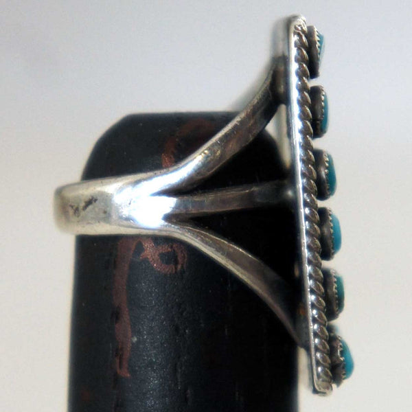 Native American Zuni Silver and Turquoise Petit Point Ring