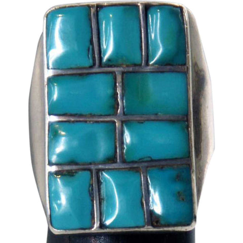 Vintage Native American Silver and Turquoise Mosaic Channel Inlaid Ring