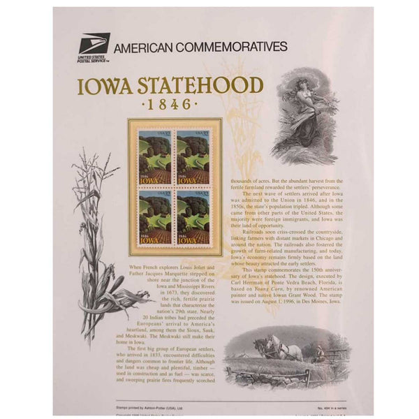 Set of Four American Iowa Statehood Commemorative Stamps #494