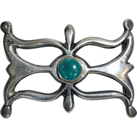 Vintage Native American Indian Silver and Turquoise Sandcast Belt Buckle