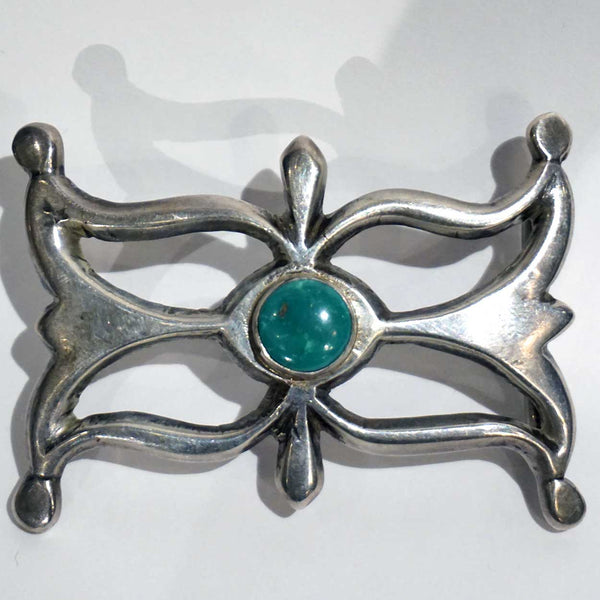 Vintage Native American Indian Silver and Turquoise Belt Buckle