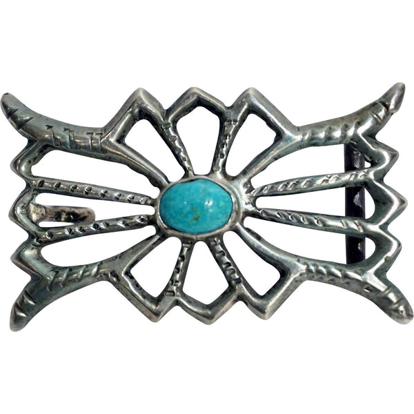Vintage Native American Indian Sand Cast Silver and Turquoise Cabochon Belt Buckle