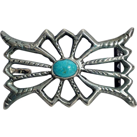 Vintage Native American Indian Silver and Turquoise Cabochon Belt Buckle