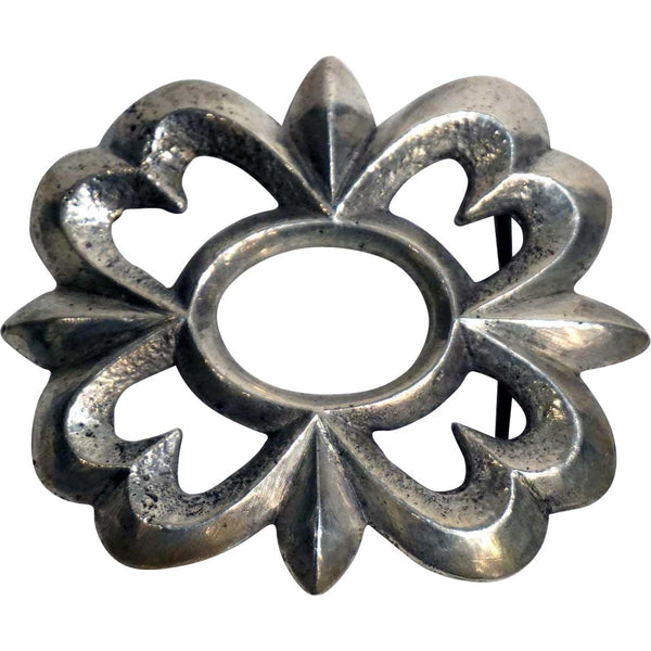 Vintage Native American Cast Sterling Silver Floral Openwork Belt Buckle
