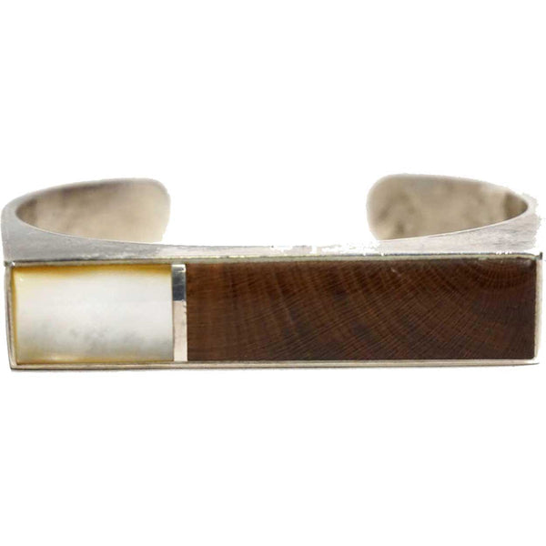 American Southwest Silver, Inlaid Mother-of-Pearl and Wood Cuff Bracelet