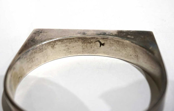 Vintage American Southwest Silver, Inlaid Mother-of-Pearl and Rosewood Cuff Bracelet