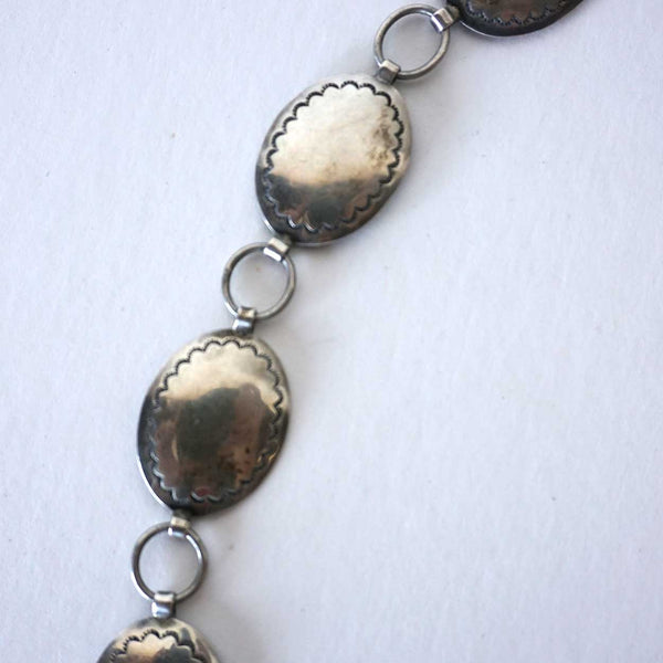 Vintage American Navajo Concho Silverplate Necklace