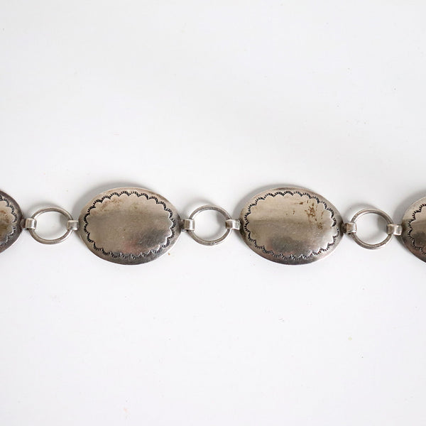 Vintage Long Native American Navajo Concho Silver Belt