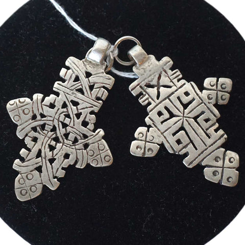Two Ethiopian Silver Cross Necklace Pendants