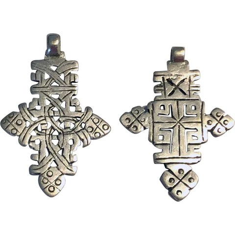 Two Vintage Ethiopian Silver Alloy Axum Coptic Cross Necklace Pendants