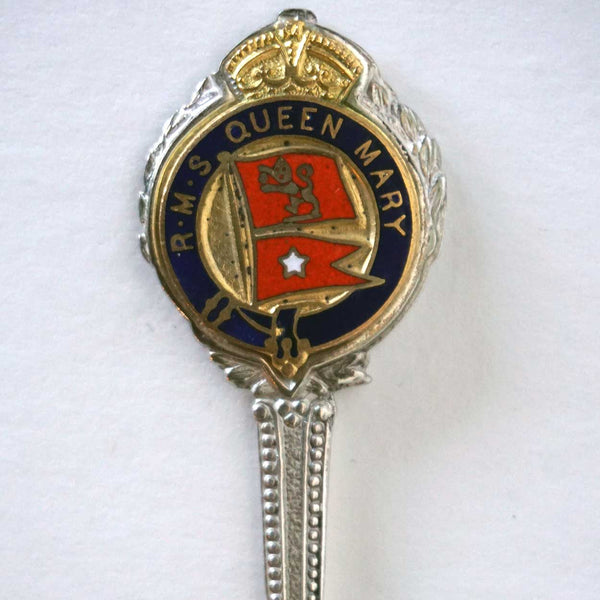 Vintage English Silverplate and Enamel R.M.S. Queen Mary Souvenir Spoon