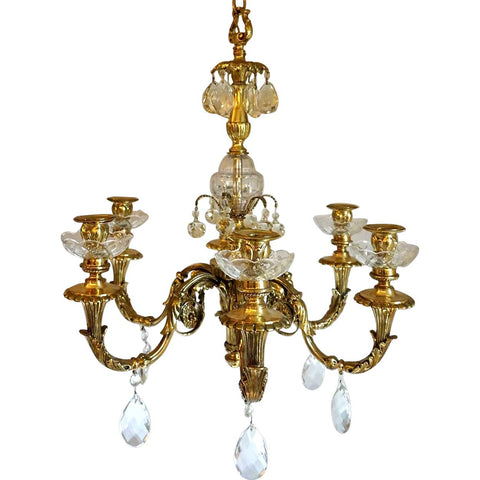 French Louis XVI Style Bronze and Crystal Six-Arm Chandelier