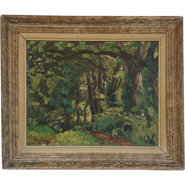 JEHAN BERJONNEAU Oil on Artist Board Painting, Forest of Montmorillon