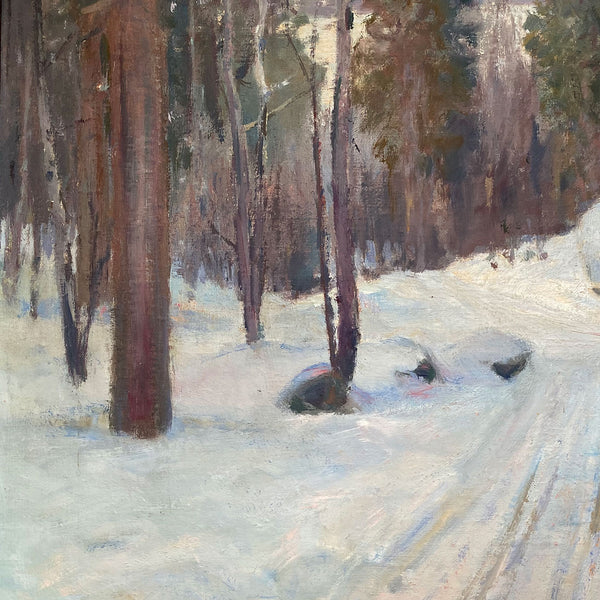 Vintage AKSEL P. KNUDSEN Oil on Canvas Painting, Scandinavian Snowy Forest Road