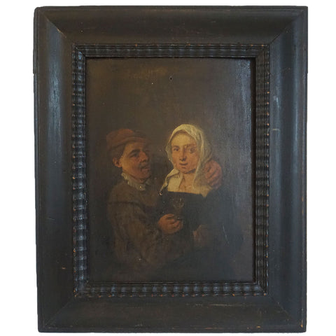 Flemish School Oil on Panel Painting, Drunken Courtship Tavern Scene