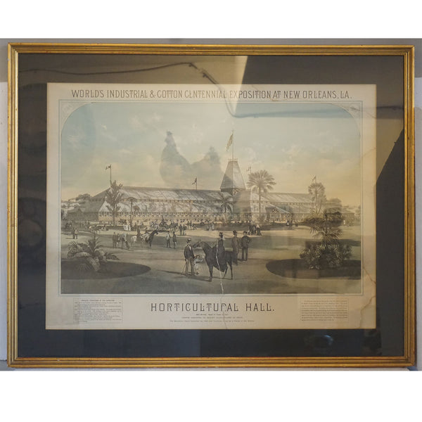 American THOMAS HUNTER Color Lithograph, New Orleans Centennial Exposition Horticultural Hall
