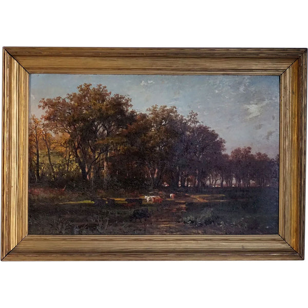 ALBERT BORRIS Oil on Canvas Painting, German Pastoral Fall Landscape of Grazing Cows