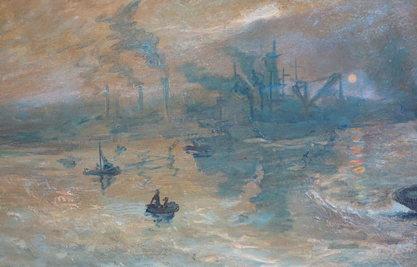 Vintage W. LAUWERS Oil on Canvas Painting, Early Morning Fog on the River