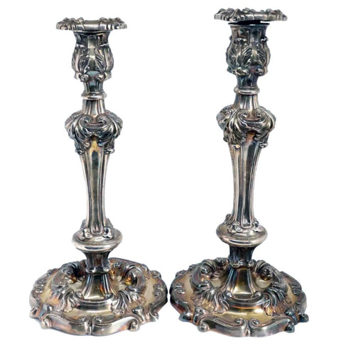 Large Pair of American Reed & Barton Rococo Revival Silverplate Repousse Candlesticks