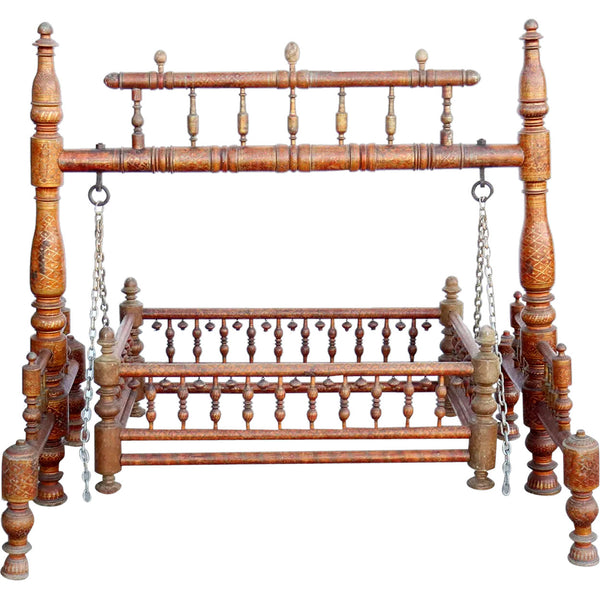 Indian Teak Gilt Decorated (Jhoula) Cradle (Palan)  Swing
