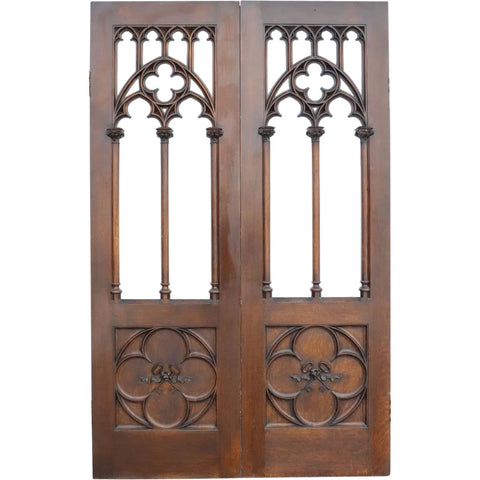 Large American Gothic Revival Quarter Sawn Oak Double Door Room Divider