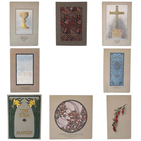Collection of Eight American Art Nouveau E. G. HALL Gouache Illustration Paintings on Paper